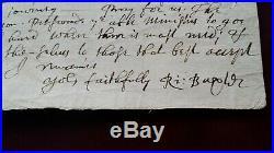1673 Richard Baxter Handwritten Letter Puritan Reformer / Author Bible