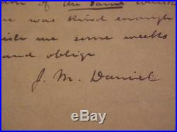 1800s Confederate Officer John M Daniel Hand Written Autographed Signed Letter