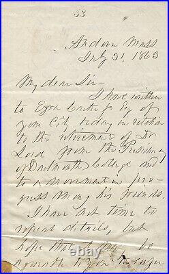 1863 President Franklin Pierce Handwritten Three (3) Page Letter Signed ALS JSA
