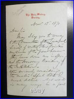 1871 Handwritten & Signed Letter MYLES BIRKET FOSTER Victorian British Artist