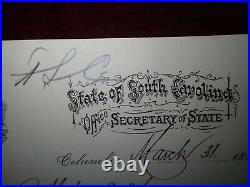 1886 James N. Lipscomb Columbia SC Secretary of State Hand Written Letter Signed