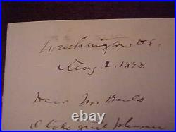 1893 Christopher C. Augur Autographed Hand Written Letter Civil War General