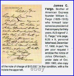 1900 James C Fargo President of American Express ALS Hand Written Letter signed