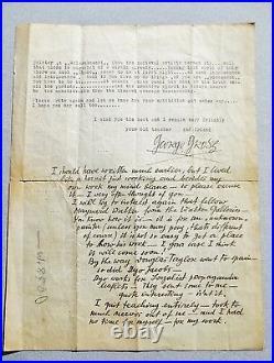1937 GEORGE GROSZ LETTER SIGNED HANDWRITTEN & TYPED Life, Art, Spains Civil War