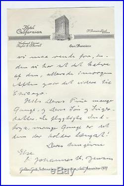 1939 HANDWRITTEN! NOBEL PRIZE Denmark letter Johannes Jensen AUTOGRAPH