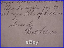 1967 Paul Lehner Autographed Signed Hand Written Baseball Letter