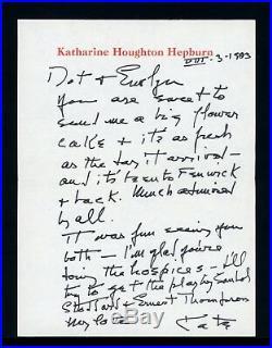 1983 Katharine Hepburn Handwritten Signed Autographed Letter
