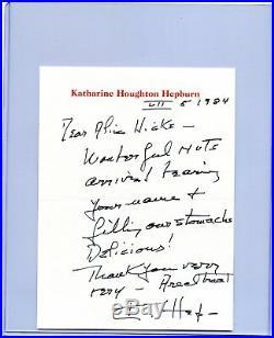 1984 Katharine Hepburn Handwritten Signed Autographed Letter