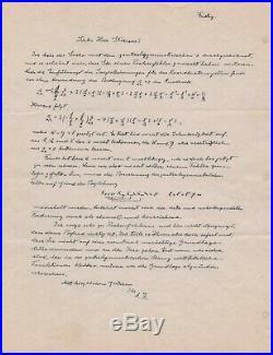ALBERT EINSTEIN autograph letter signed (containing three handwritten formulas)