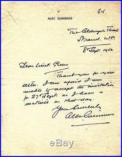 ALEC GUINNESS Signed Handwritten 1952 Letter STAR WARS, LAWRENCE OF ARABIA