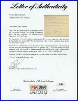 ALEXANDRE DUMAS (1802-1870) signed handwritten letter PSA/DNA LOA père