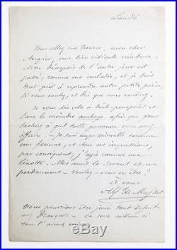 ALFRED DE MUSSET to Emile Augier 1849 HANDWRITTEN AUTOGRAPH LETTER lettre