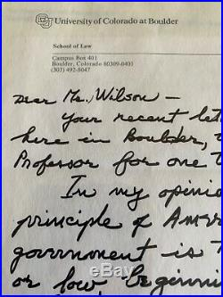 ARCHIBALD COX Hand Written Letter About Watergate 1987
