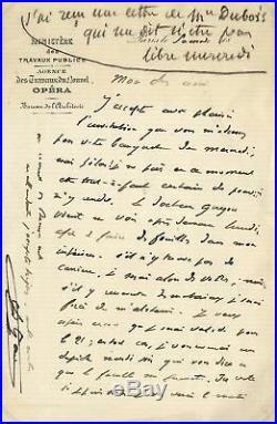 ARCHITECT Charles Garnier autograph, handwritten letter signed & mounted