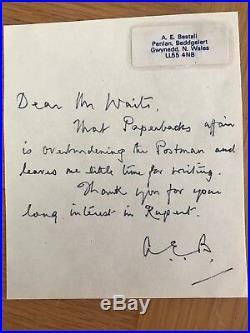 A. E. Bestall Author Rupert Bear Hand Written Letter RARE