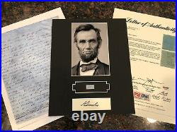 Abraham Lincoln Display with Hand-Written Word from Letter PSA LOA 8x10