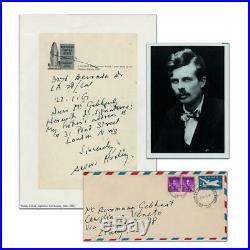 Aldous Huxley Signed Hand Written Letter. COA