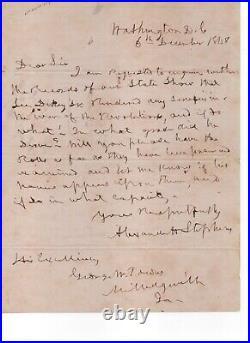 Alexander Stephens - VP of the Confederacy handwritten letter as a Congressman