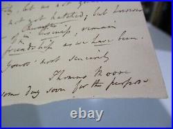 Antique Hand Written Letter Autograph Thomas Moore English Poet Writer Lyricist