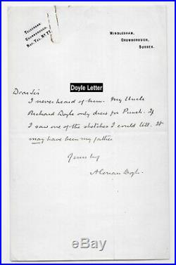 Arthur Conan Doyle Handwritten Letter Plus Cabinet Photo Houdini Friend And Foe