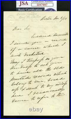 Benjamin Curtis JSA Coa Signed Handwritten 1858 Letter Supreme Court Autograph