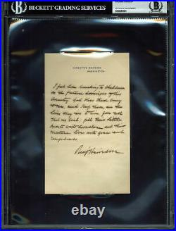 Benjamin Harrison Signed 4.5x7.75 Handwritten Letter on EM Letterhead BAS Slab