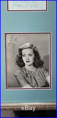 Bette Davis Autographed Photo & Hand Written & Signed Letter Framed