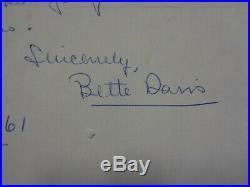 Bette Davis Handwritten Letter 1961
