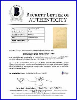 Bill Wilson Alcoholics Anonymous Signed 8x12.5 1961 Handwritten Letter BAS