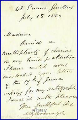 Bishop of Kilmore Marcus Beresford Hand Written Letter Dated 1869 Mueller COA