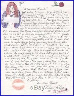 Blaze Starr Original Hand Signed+hand Written Letter+coa Rare Jfk Content