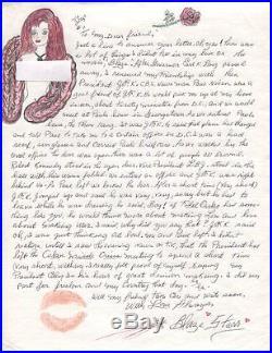 Blaze Starr Original Signed+hand Written Letter+coa Jfk+fidel Castro Content