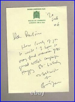 Boris Johnson Original Hand-written And Hand-signed Letter & Envelope 2006