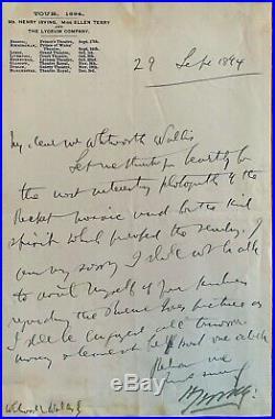 Bram Stoker Hand Written Letter As Secretary To Henry Irving Signed By Irving