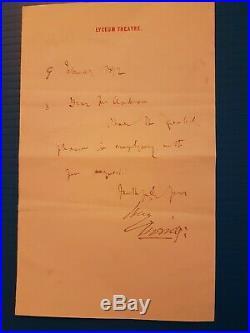 Bram Stoker Original Handwritten Letter. Dracula