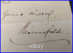 British Prime Minister Benjamin Disraeli Signed Hand Written Letter COA