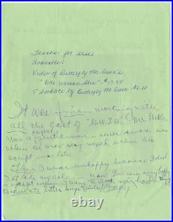 Butterfly McQueen signed autographed handwritten letter! Guaranteed Authentic