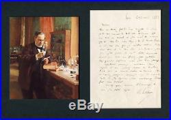 CHEMIST Louis Pasteur autograph, handwritten letter signed & mounted