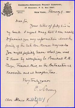 Carl Schurz, Senator, Civil War General, Cabinet Sec, handwritten signed letter