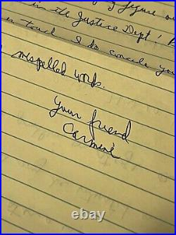 Carmine Persico Mafia Boss Mobster Autograph Signed Handwritten Letter +Envelope