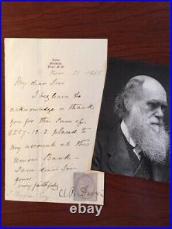 Charles Darwin Handwritten Letter Signed, The Orgin Of Species, Evolution