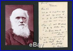 Charles Darwin NATURALIST autograph, handwritten letter signed & mounted