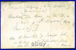 Charles Darwin Signed Autographed 4x6 Handwritten Letter Beckett BAS