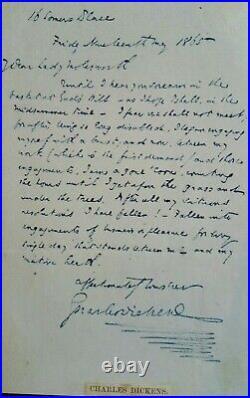 Charles Dickens Rare Signed Handwritten Letter 1865 Christmas Carol Bonhams