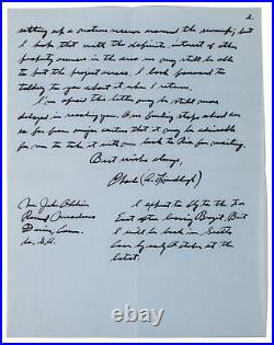 Charles Lindbergh Signed 8.25x10.75 1968 2 Page Handwritten Letter BAS #AA03530