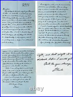 Charles Lindbergh Signed 8.5x11 3 1969 Page Handwritten Letter BAS #AA03529