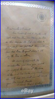 Charles lindberg's handwritten letter and signature along with a photo of him