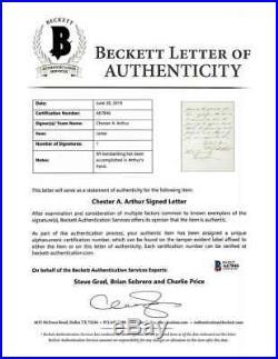 Chester Arthur Signed Autographed 6x9 Handwritten Letter Beckett BAS