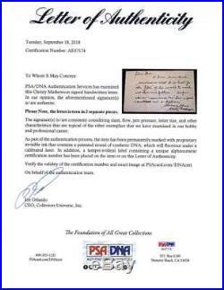 Christy Mathewson Signed Autographed 5x8 Hand Written Letter PSA/DNA