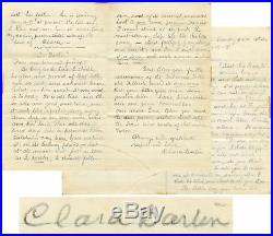 Clara Barton Handwritten Letter Signed Benjamin Butler